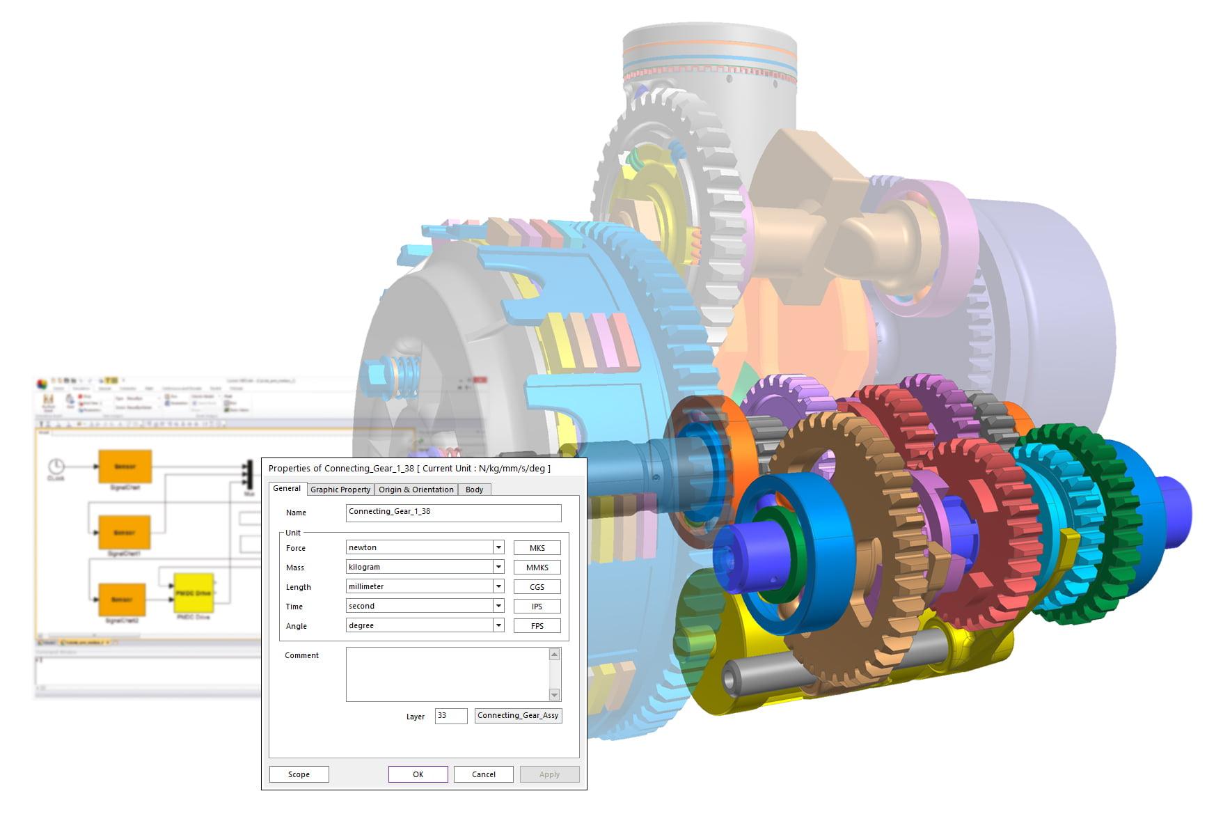 Recurdyn multibody dynamic gears simulation